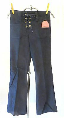 Vintage 70s corduroy Bell Bottoms Pants Lace UP dead Stock Girls 10