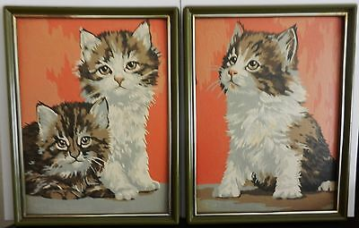 vintage set of 2 Framed PAINT BY NUMBER Fluffy Cats Kittens WALL HANGINGS