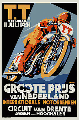 Vintage Art Deco Motorcycle Racing Poster Dutch TT Races 1930s Assen Biker Retro