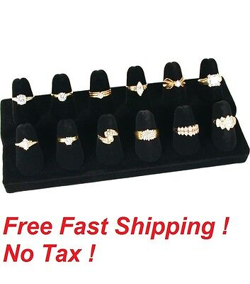 12 Finger Black Velvet Ring Showcase Counter Top Display Jewelry Organizer Stand