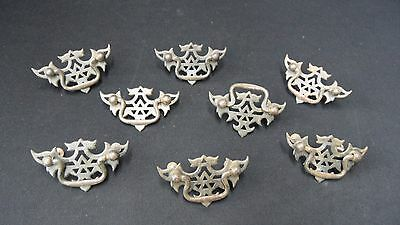 Lot of 8 Vintage pulls with backing plate for chest of drawers