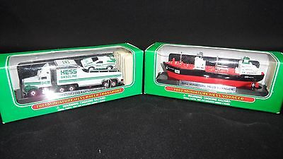 Collectible Miniature Hess Memorabilia Truck and Boat New In Box