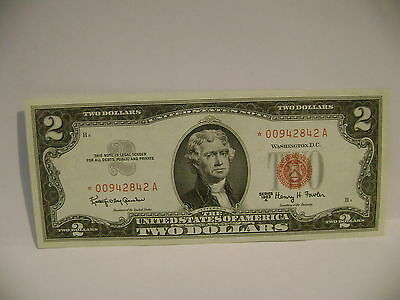 Uncirculated 1963 Crisp $2 Two Dollar Bill Red Star & Red Seal Stamp Money Note