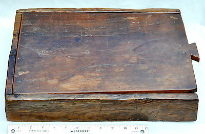 Primitive Antique Multi-compartment Sliding Top Solid Wood Box- Sewing, Cooking?