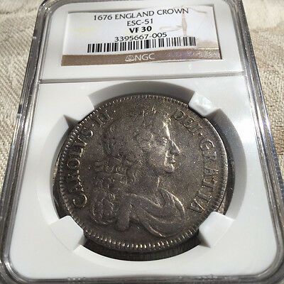 1676 - UK Silver Crown - NGC VF 30 - Nice Coin