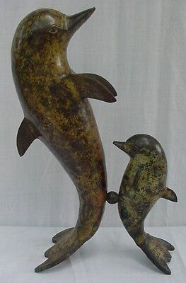 PORPOISES / DOLPHINS Metal FIGURE Adult w/Juvenile TAIL STANDING Cold Painted