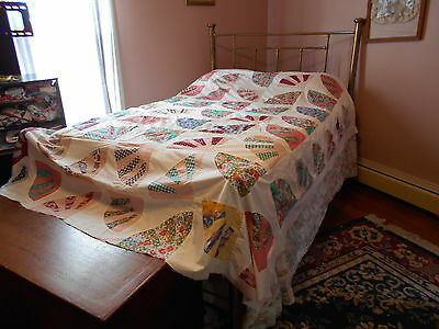 Vintage Antique Grandmothers Fan Quilt Top Cotton 86X93 1940's  Documented