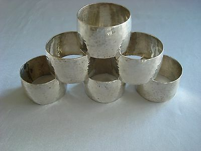 Sterling Silver ~ 6 Vintage Hand Hammered Napkin Rings ~ 2 Sets Avail ~ Stunner!