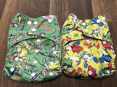 Lot Of 2 Happy Flute Double Flap Style One Size Diaper