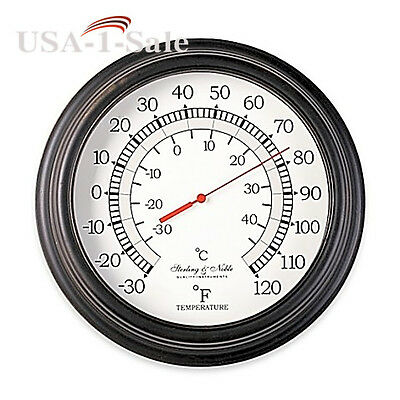 10-Inch Outdoor Indoor Home Garden Thermometer Tin Bronze Wall Clock Style New
