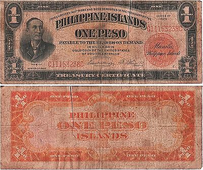 PHILIPPINES 1 Peso (Commonwealth) 1929, Pick 73c, Fine *RARE*