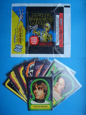 Full Set 1977 *STAR WARS* Series 1/Blue Stickers #1-11  Complete + WRAPPER