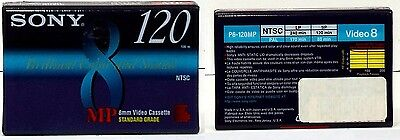 New Sony 120 min 8mm Brilliant Color Video8 Camcorder Tape P6-120MPC, FREE S&H
