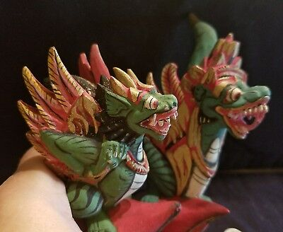 Rare Vintage Pair Of Hand Carved &  Painted Wood Wooden Dragon Finials Stoppers