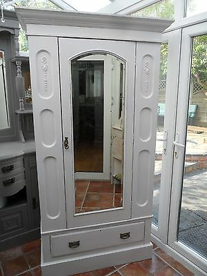 Pretty Vintage Painted Victorian Style Mirrored Wardrobe Shabby Chic