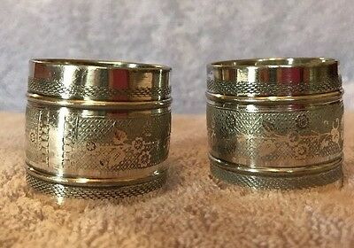 Two (2) Antique Victorian Silverplate Napkin Rings Etched