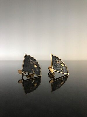 Vintage 24K Inlaid Japanese Shakudo Decorated Fan Earrings