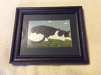 Black & White Cat in Black Farmhouse style wood frame, B&B, New England America