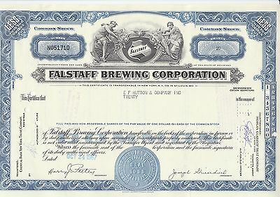 Falstaff Brewing Corporation Stock Certificate 20 Shares 1967