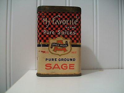 My Favorite Sage Spice Tin Early Antique Advertising Can Akron Ohio