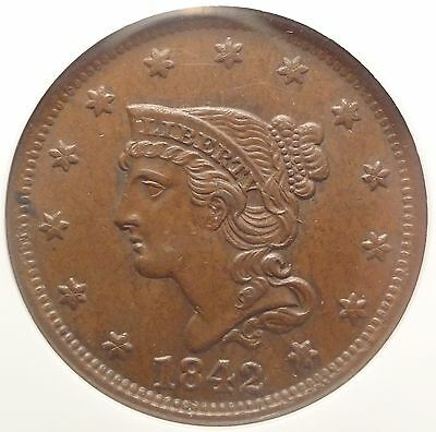 NGC MS62 1842 Large Cent N-9 1c Variety