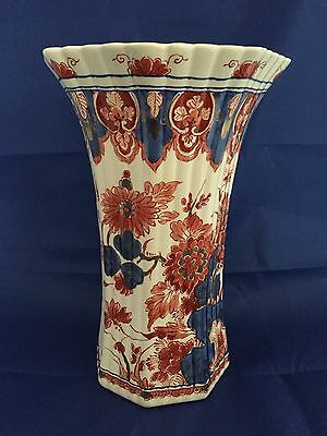 Exceptional Vintage Delft  Porcelain Vase Red/Orange, Gold &  Blue Floral 10""