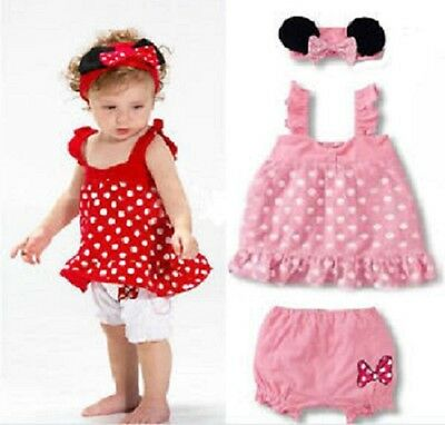 Minnie Mouse BABY GIRL'S 3 piece OUTFIT 6-12 months Red Pink Cute Polka dot