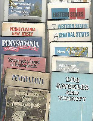 13-4-1 Vintage Travel Maps PA State Parks Pittsburgh Los Angeles New York US
