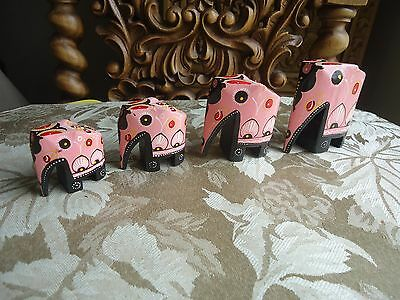 Set of 4  Carved Wood Hand Painted Thai Elephant Sculpture Figure Home Decor