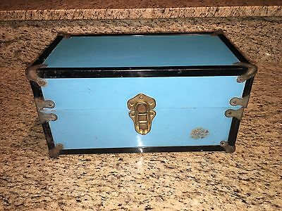"""Antique Travel Storage DOLL TRUNK CHEST Wood & Blue Metal Clean Inside! 13.75"""""""