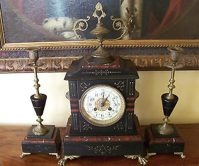 Antique Slate and Marble Clock with Garniture and Brass Ornamentation- Free Ship