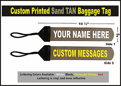 Tan  Large Custom Printed Gear Tag for your Bag luggage or Duffle