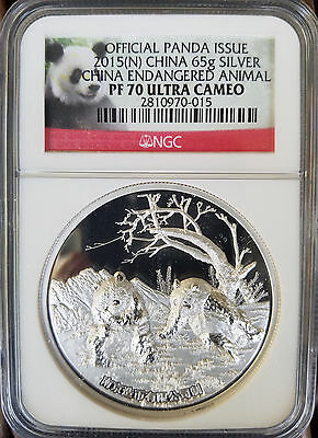 2015 Nanjing Mint Panda Silver NGC PF70 Proof Medal Great Wall China Coin UC 65g