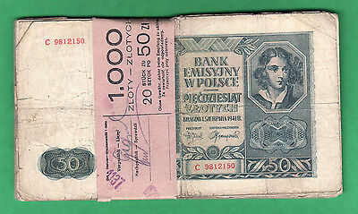 br-Lot 353-Poland - Lot 20 Heavily used 50 Zlotych-Bank Wrapping-1941 WWII issue
