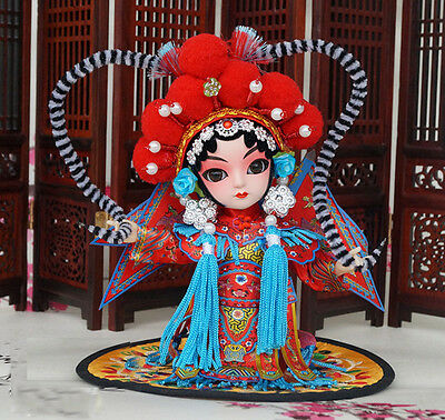 6'' Mini Peking Opera Performer Q Version Figurine Asian Chinese Doll-Lady Mu