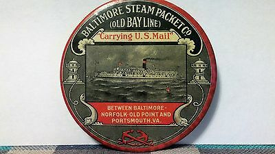 Very Rare Baltimore Steam Packet Co. Advertising Pocket Mirror / Paperweight