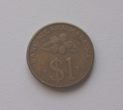 1990,1 dollar coin  Malaysia circulated