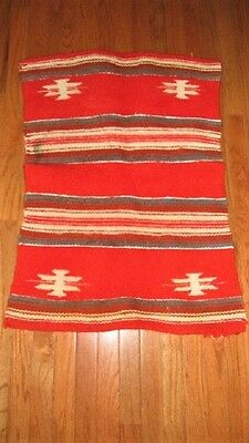 Vtg 26X35 Southwestern Cowboy Indian Design Heavy Orange Wool Saddle Blanket
