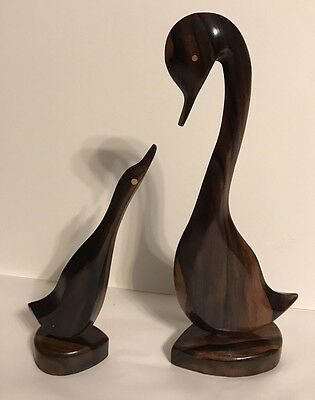 Vintage Mid Century Modern Retro Wood Carved Swans Birds Figurine Sculpture Pair