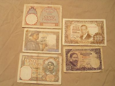 5 Banknotes From Spain & France Including French Colonies Algeria & Morocco