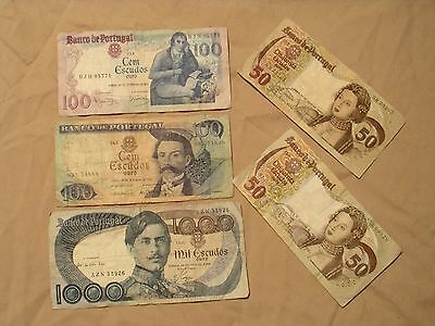 5 Banknote Set From Portugal