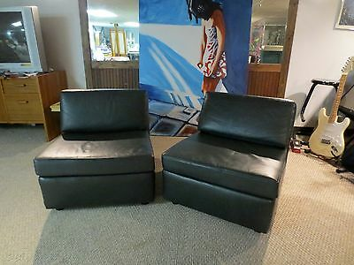 * Jack Cartwright * Pair Of Dark Green Leather Vintage Mid-Century Club Chairs *