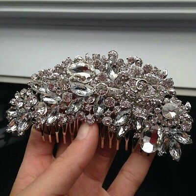 Bridal Crystal Wedding Proms Hair Comb bride rhinestone bling clear large cZ dia