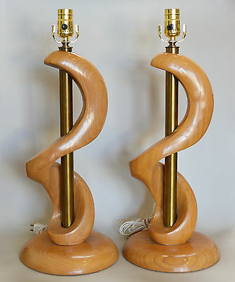 Pair Mid Century Biomorphic Ash and Brass Table Lamps Retro Vintage