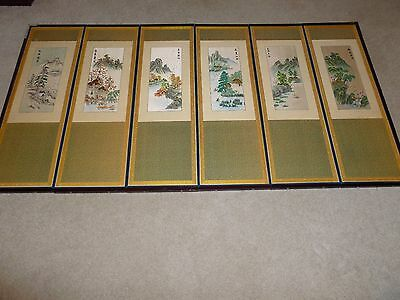 "Chinese wall screen hand painted hand embroidered four seasons w-61"" 1950's silk"