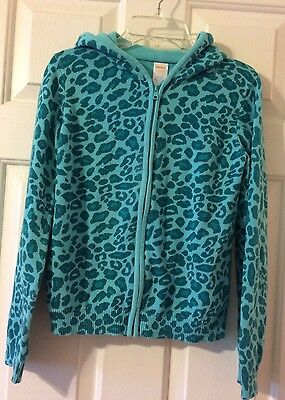 Gymboree Glamorous Friends Girls Size 10 Blue Animal Print Zip Front Sweater