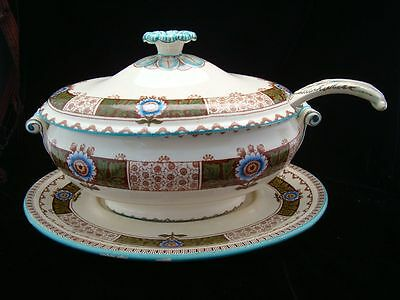 Huge Passion Flower English Soup Tureen, Platter & Ladle 1880