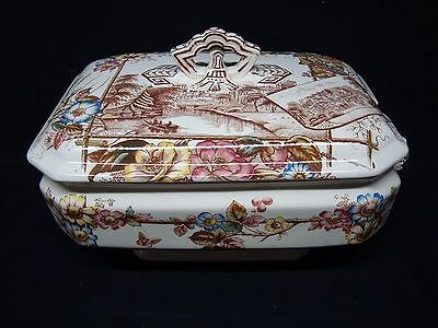 Large Brown Transferware English Views Soup Tureen ~ ANGLAIS 1883