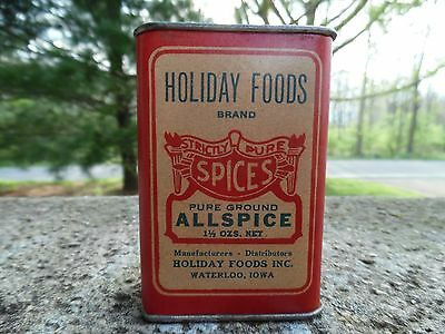 Holiday Foods Brand Allspice, Waterloo, Iowa Spice Tin