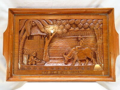Old Asian Hand Carved Scenic Presentation Tray